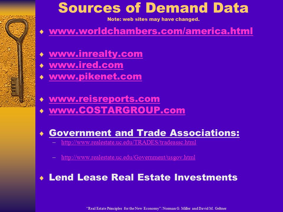 Sources of Demand Data Note: web sites may have changed.