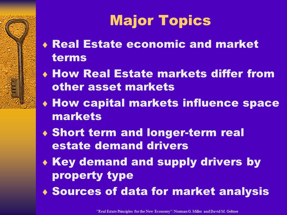 Major Topics Real Estate economic and market terms