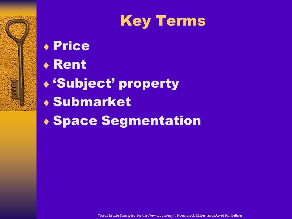 Key Terms Price Rent 'Subject' property Submarket Space Segmentation