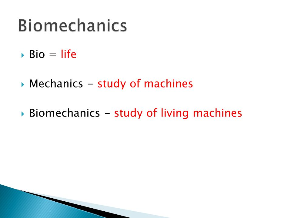 Biomechanics Bio = life Mechanics - study of machines