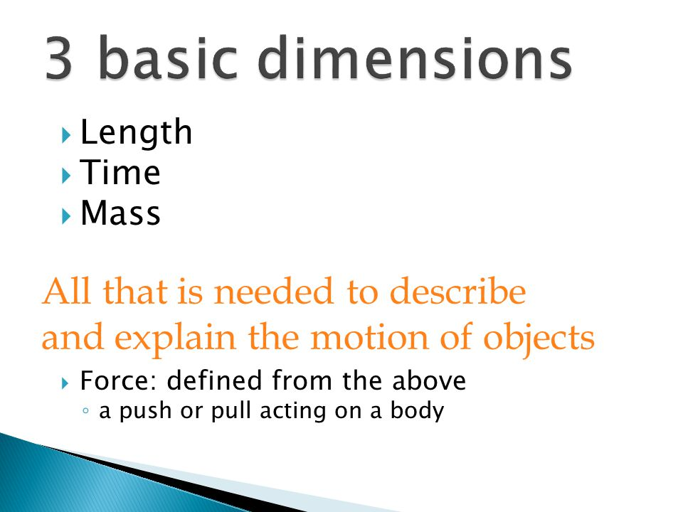 3 basic dimensions All that is needed to describe