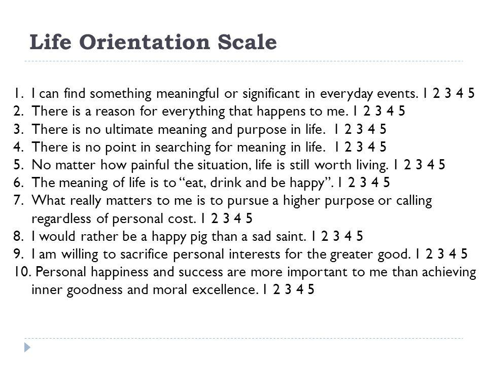 Life Orientation Scale