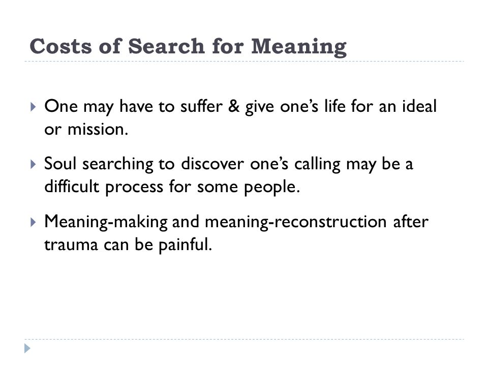 Costs of Search for Meaning