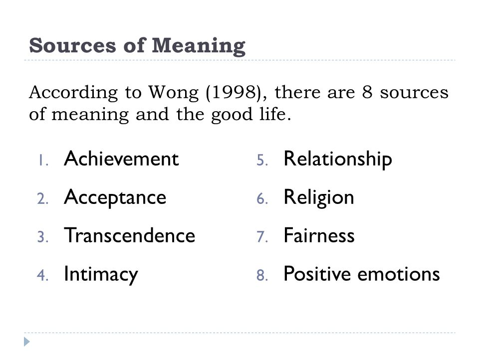 Achievement Acceptance Transcendence Intimacy Relationship Religion