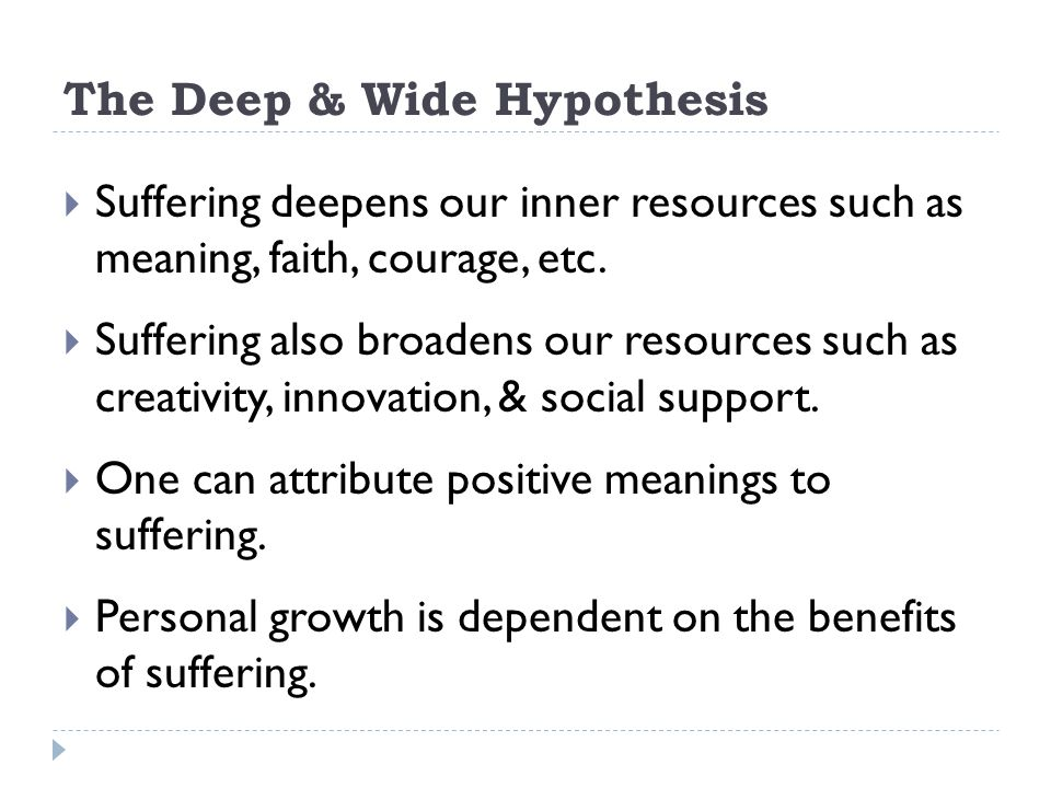 The Deep & Wide Hypothesis