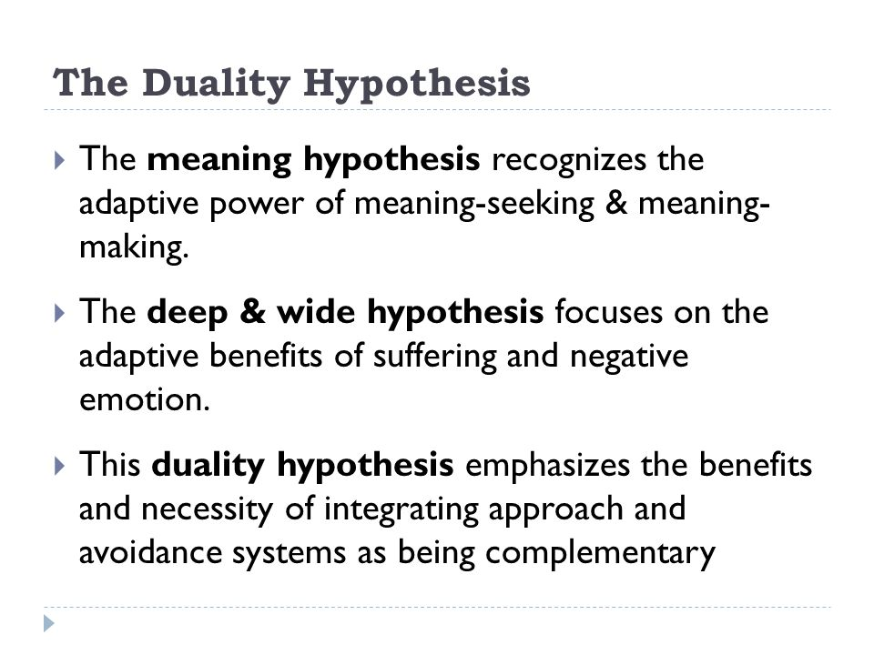 The Duality Hypothesis