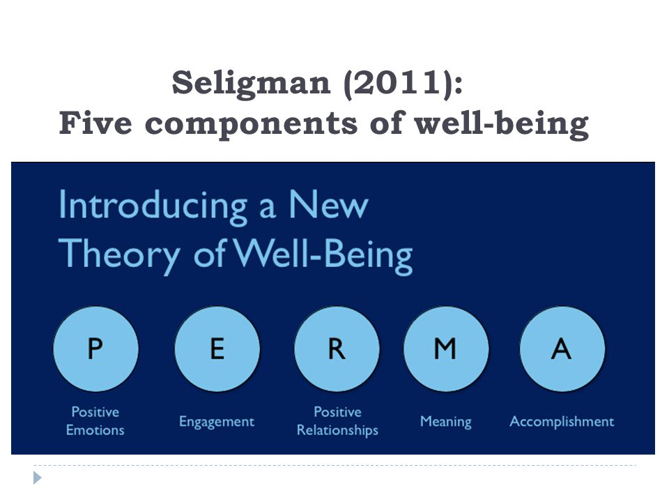 Seligman (2011): Five components of well-being