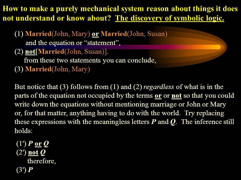 How to make a purely mechanical system reason about things it does not understand or know about The discovery of symbolic logic.