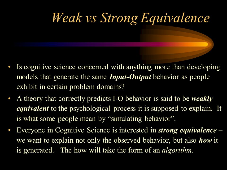 Weak vs Strong Equivalence
