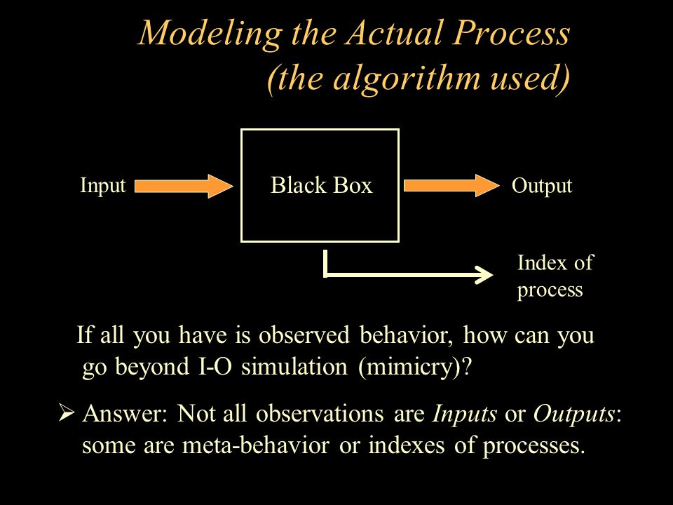 Modeling the Actual Process (the algorithm used)
