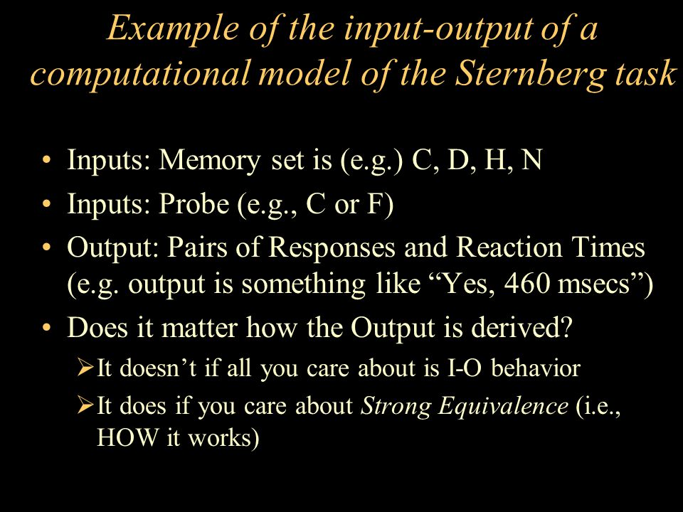 Example of the input-output of a computational model of the Sternberg task