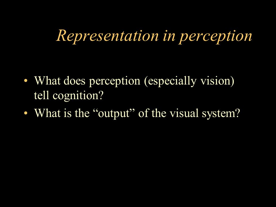 Representation in perception