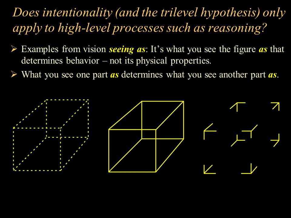 Does intentionality (and the trilevel hypothesis) only apply to high-level processes such as reasoning