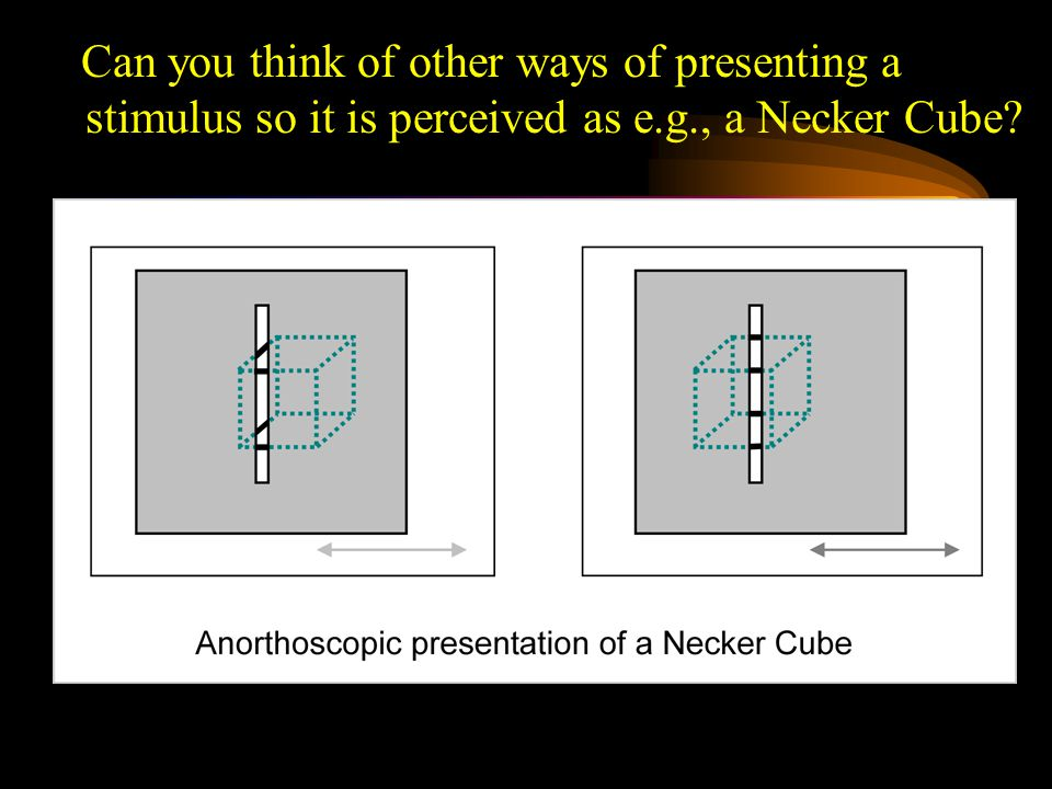 Can you think of other ways of presenting a stimulus so it is perceived as e.g., a Necker Cube