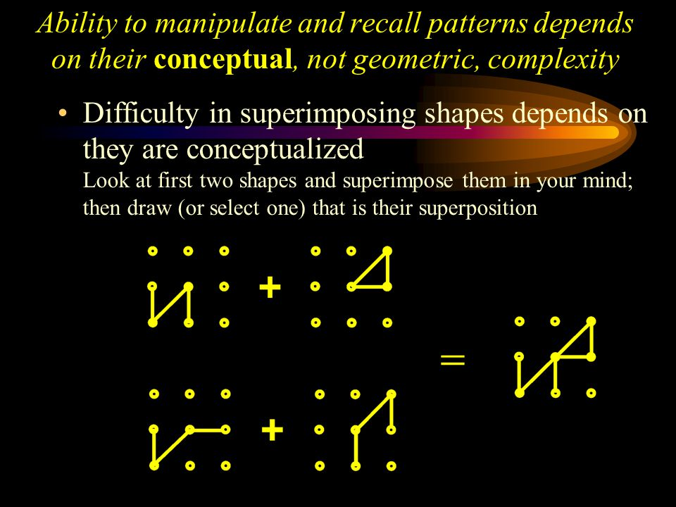 Ability to manipulate and recall patterns depends on their conceptual, not geometric, complexity