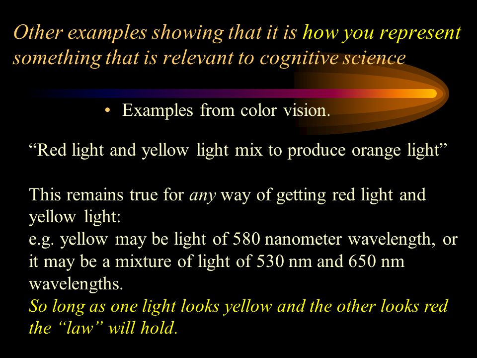 Other examples showing that it is how you represent something that is relevant to cognitive science