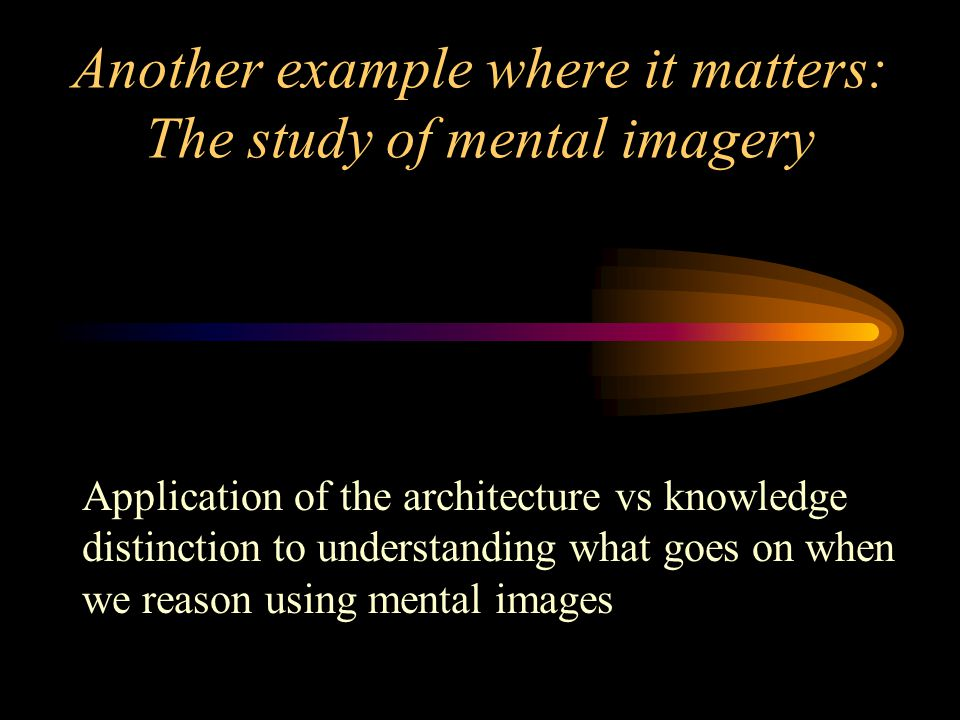 Another example where it matters: The study of mental imagery