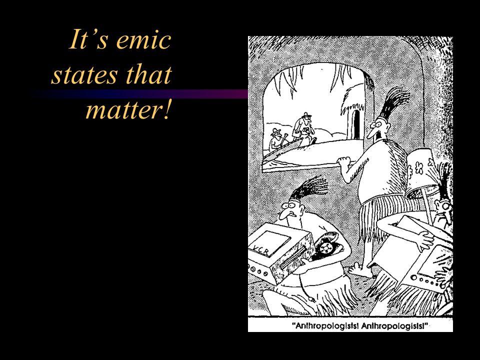 It's emic states that matter!