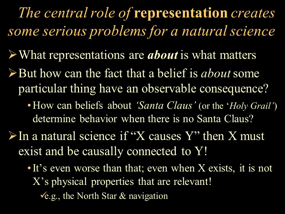 The central role of representation creates some serious problems for a natural science