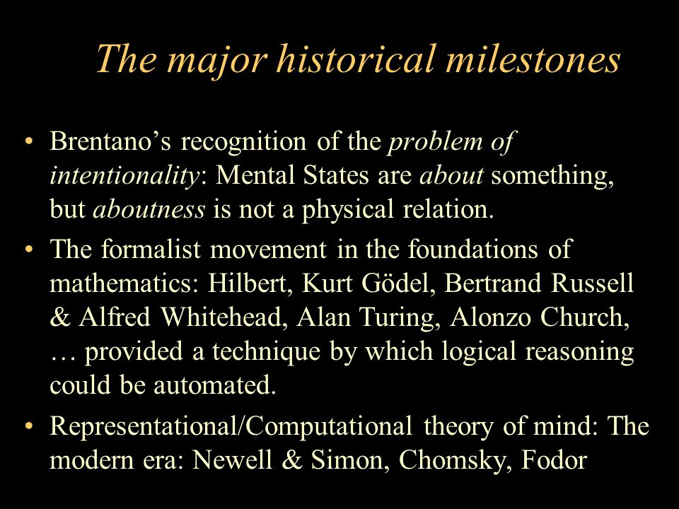 The major historical milestones