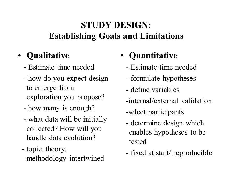 STUDY DESIGN: Establishing Goals and Limitations