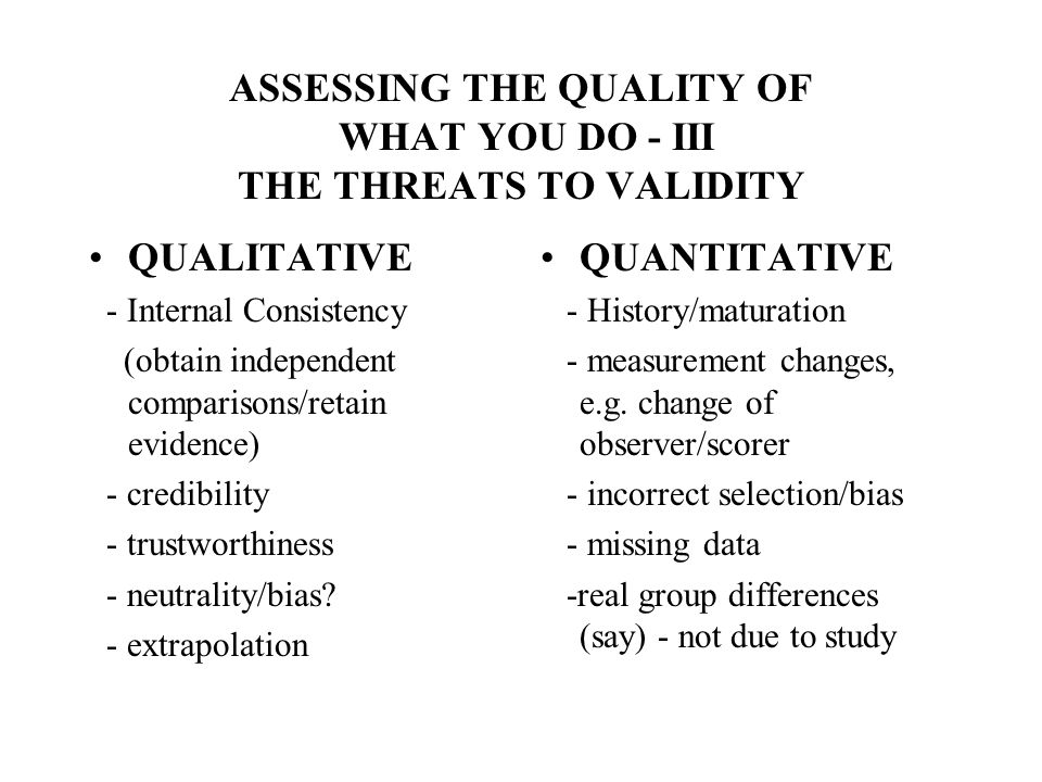 ASSESSING THE QUALITY OF WHAT YOU DO - III THE THREATS TO VALIDITY