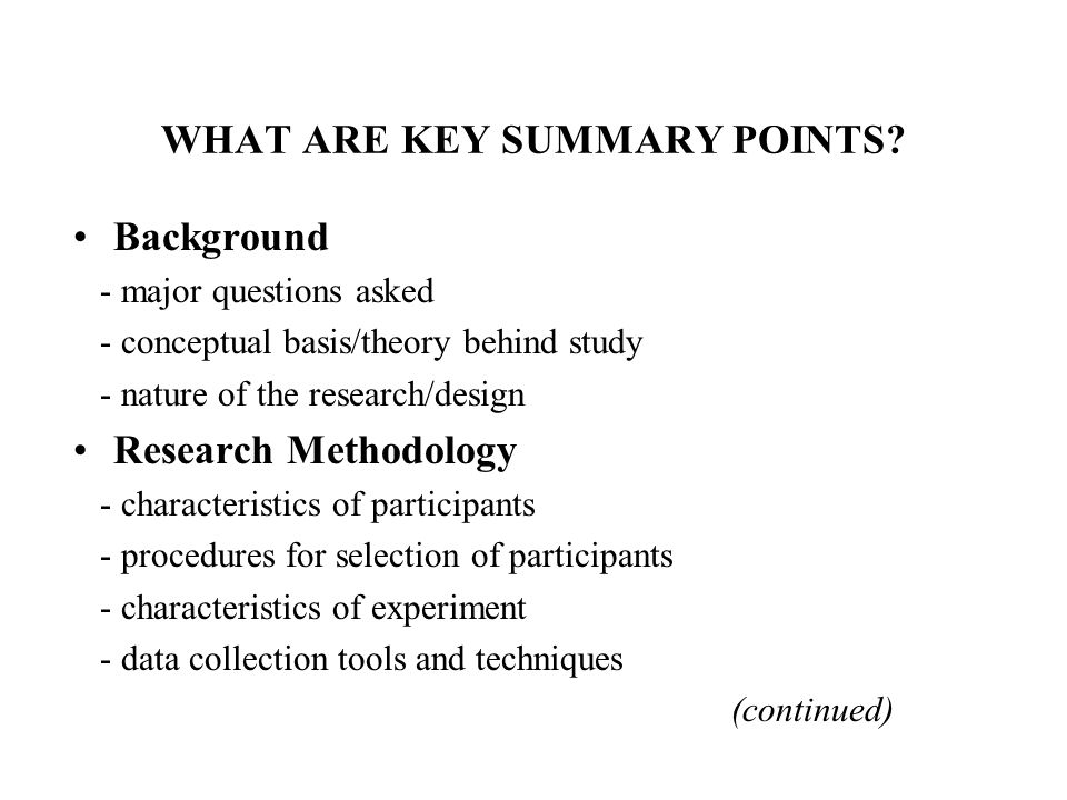 WHAT ARE KEY SUMMARY POINTS