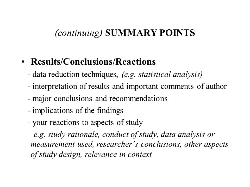(continuing) SUMMARY POINTS