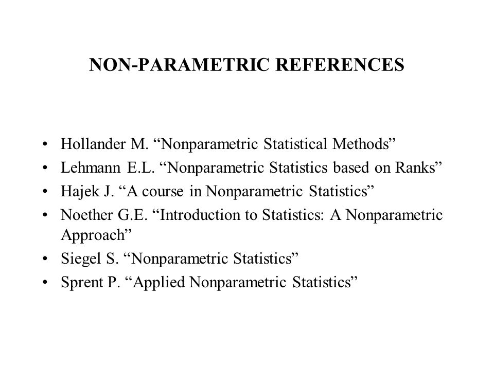 NON-PARAMETRIC REFERENCES