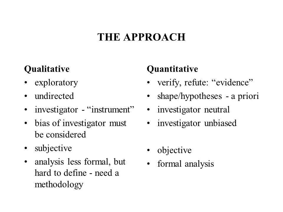 THE APPROACH Qualitative exploratory undirected