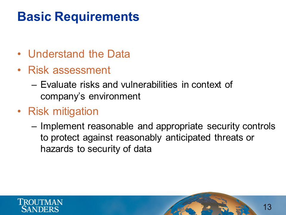 Basic Requirements Understand the Data Risk assessment Risk mitigation