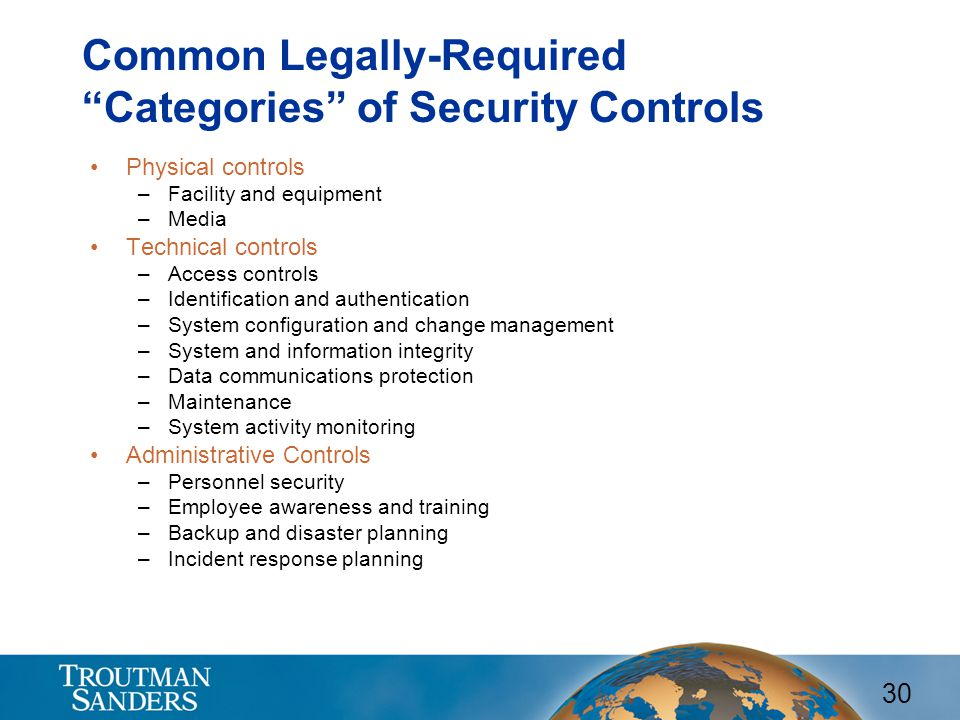 Common Legally-Required Categories of Security Controls