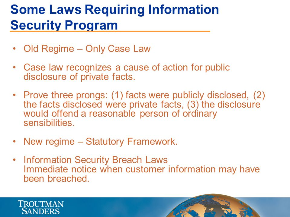 Some Laws Requiring Information Security Program