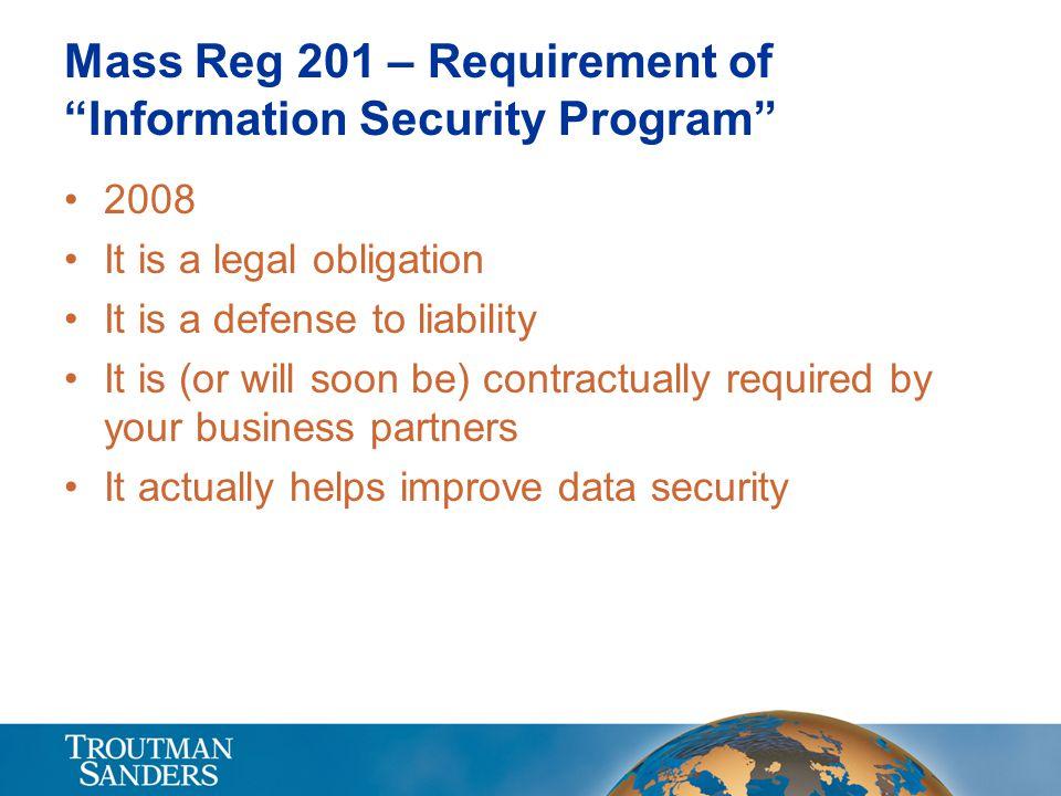 Mass Reg 201 – Requirement of Information Security Program