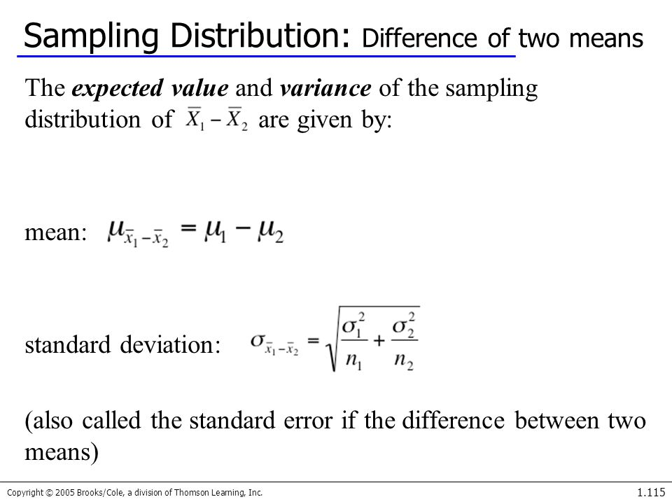 Sampling Distribution: Difference of two means