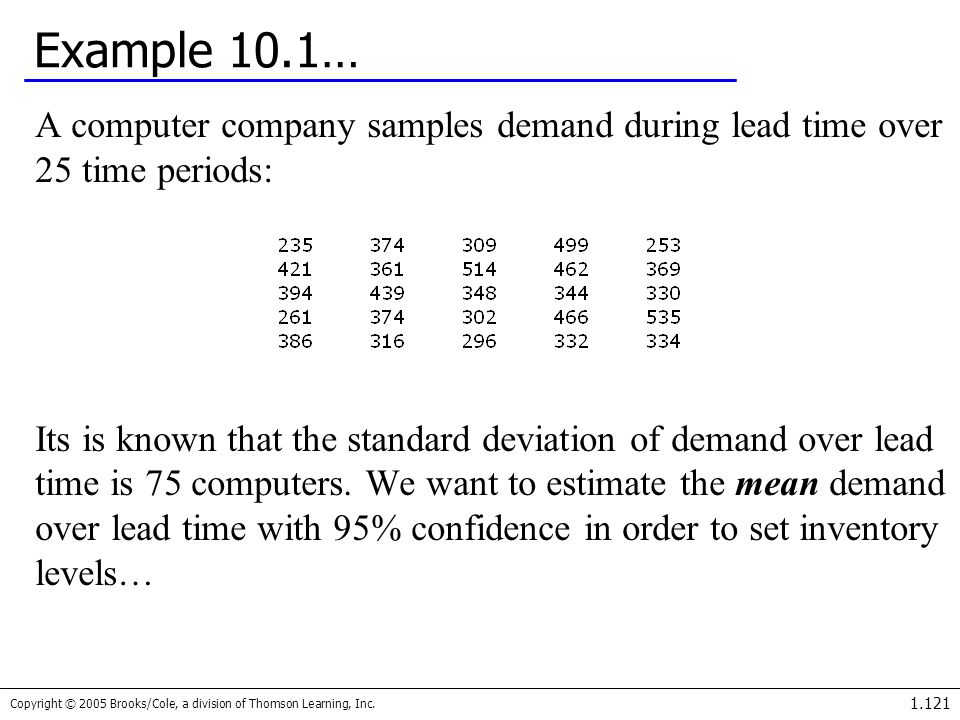 Example 10.1… A computer company samples demand during lead time over 25 time periods: