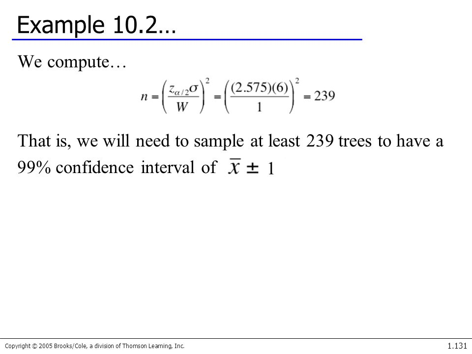 Example 10.2… We compute… That is, we will need to sample at least 239 trees to have a. 99% confidence interval of.
