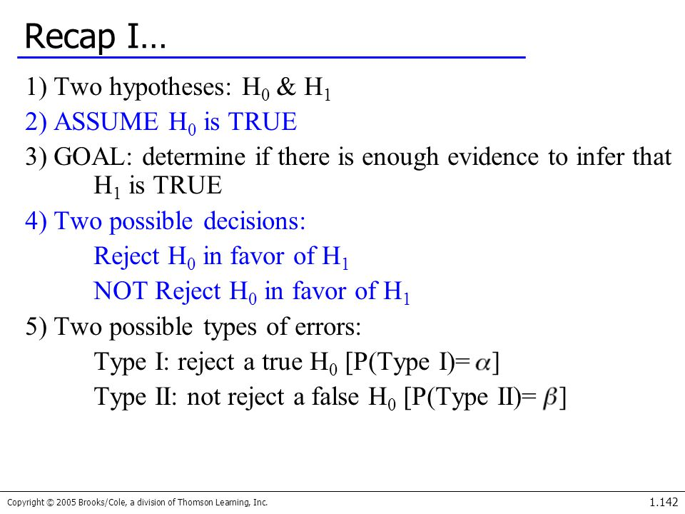 Recap I… 1) Two hypotheses: H0 & H1 2) ASSUME H0 is TRUE
