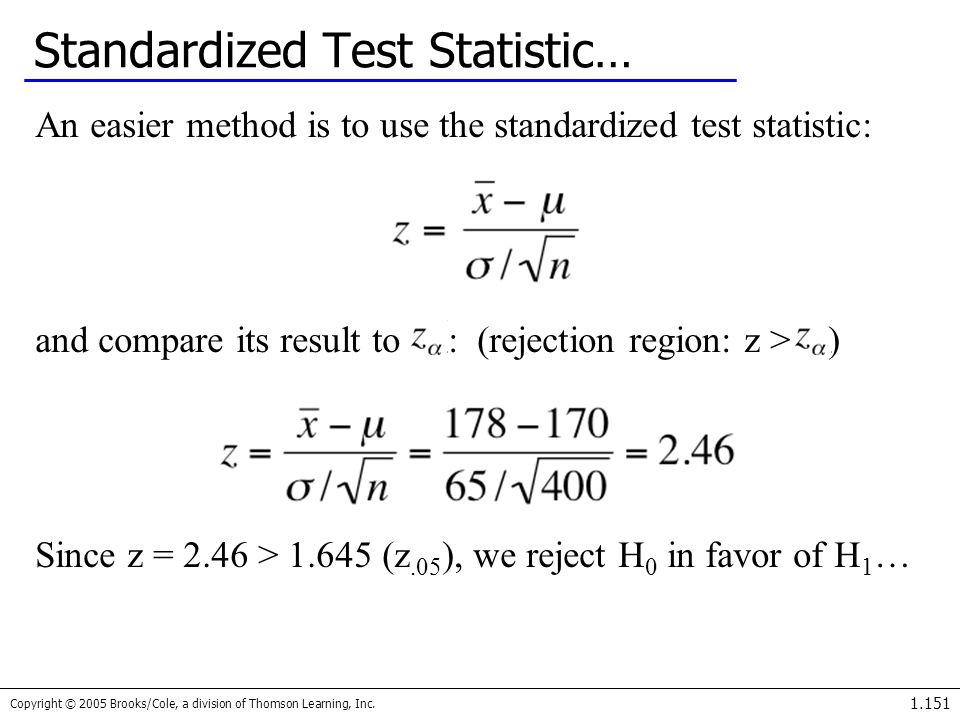 Standardized Test Statistic…