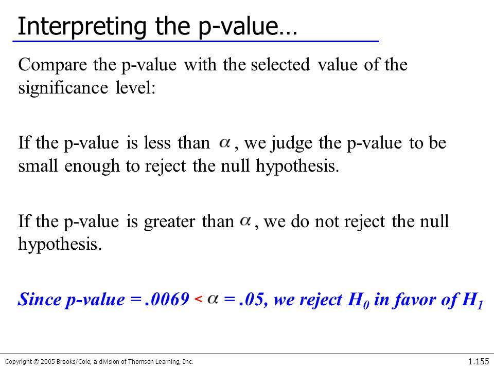 Interpreting the p-value…