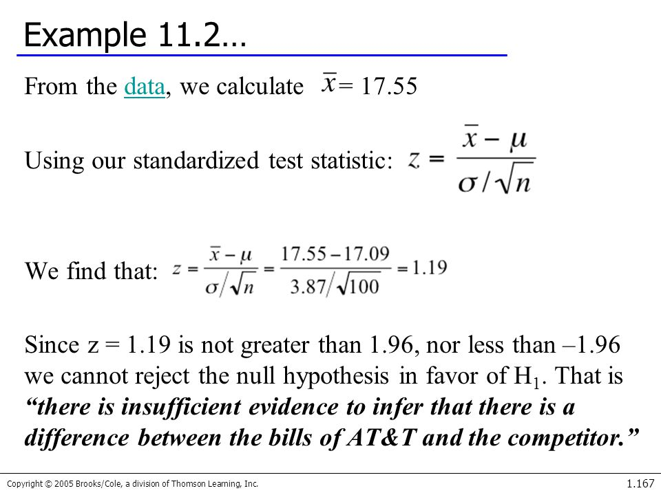 Example 11.2… From the data, we calculate = 17.55