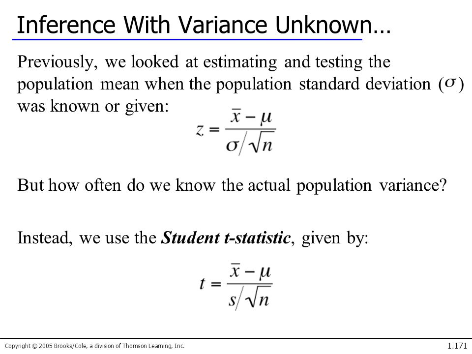 Inference With Variance Unknown…