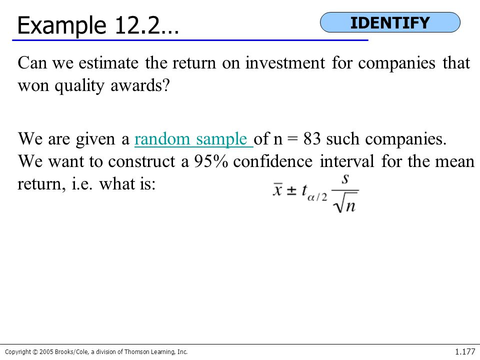 Example 12.2… IDENTIFY. Can we estimate the return on investment for companies that won quality awards