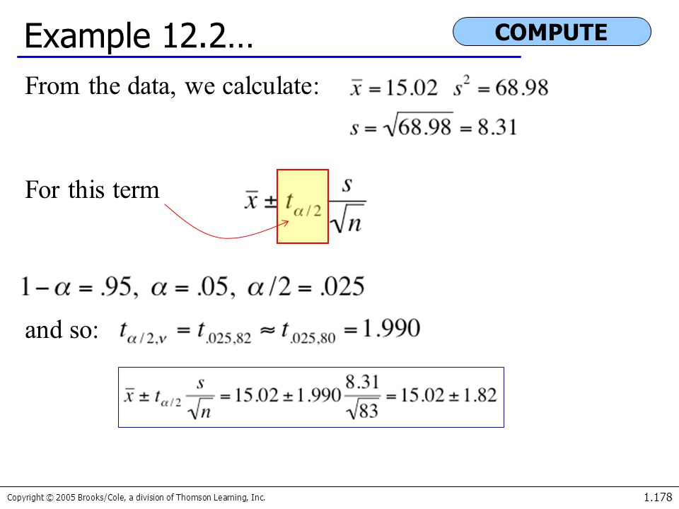 Example 12.2… From the data, we calculate: For this term and so: