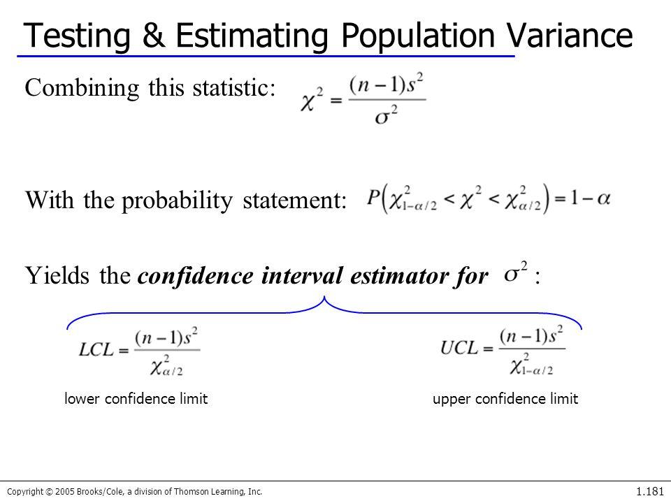 Testing & Estimating Population Variance