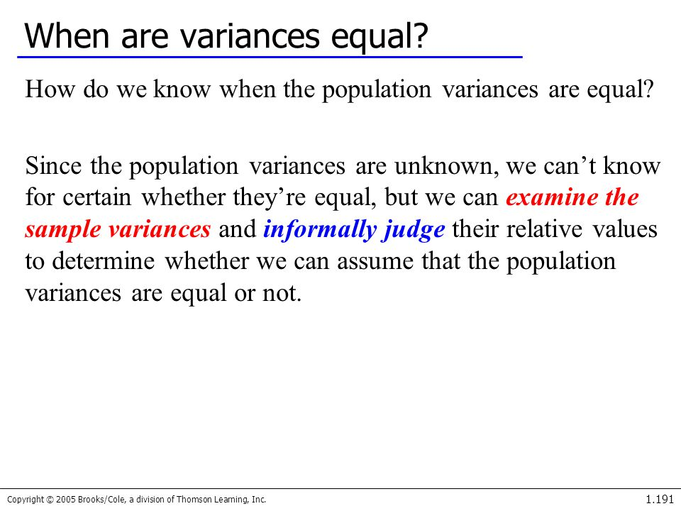 When are variances equal
