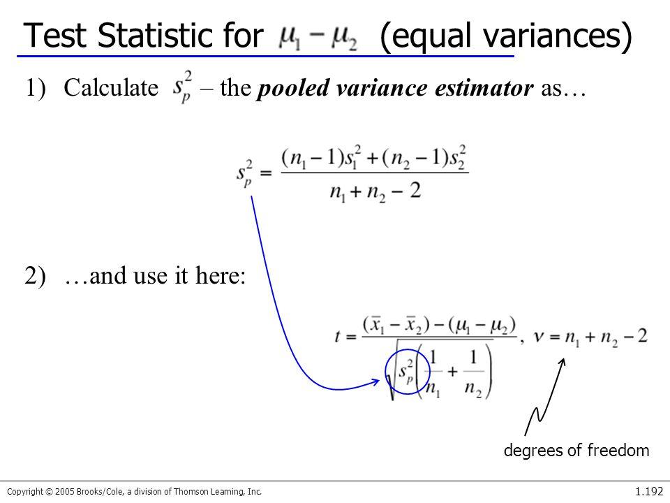 Test Statistic for (equal variances)