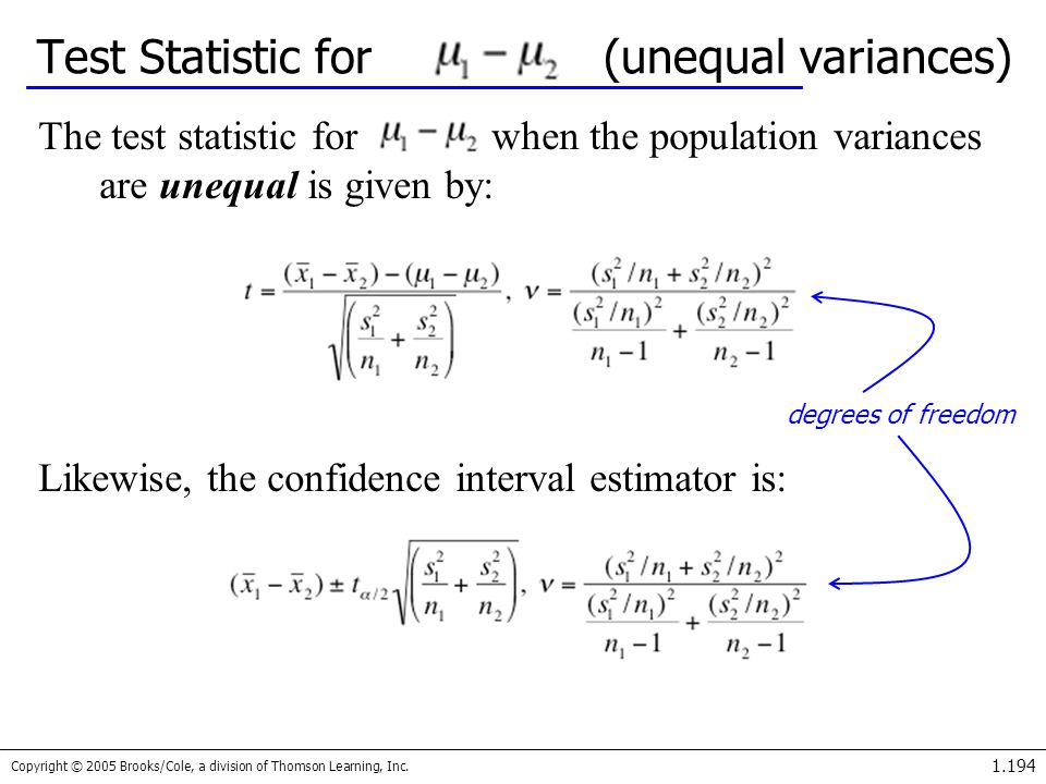 Test Statistic for (unequal variances)