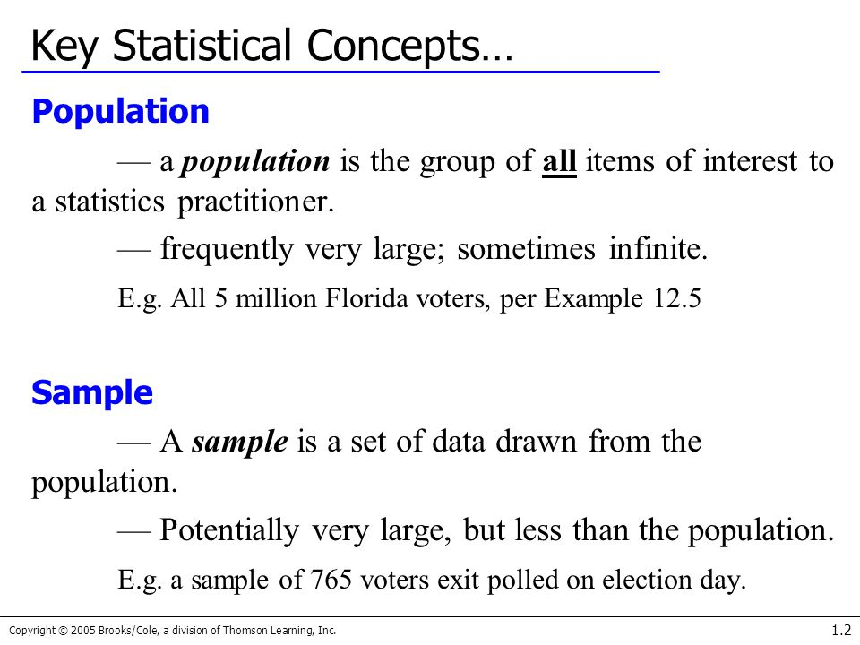 Key Statistical Concepts…