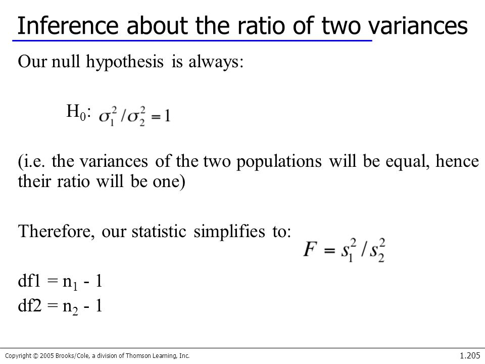 Inference about the ratio of two variances